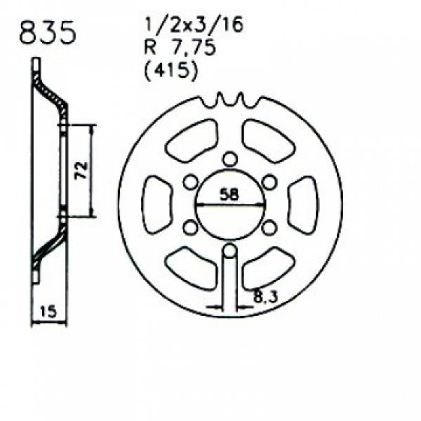 Esjot Kettenrad Z/ündapp Mofa ZD 25 TS 43 Z/ähne 20-0835-43